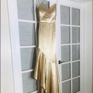 Gold Gianni Bini asymmetrical dress, size XL, $40